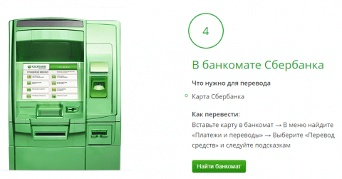 Переводы в Сбербанке с использованием банкомата