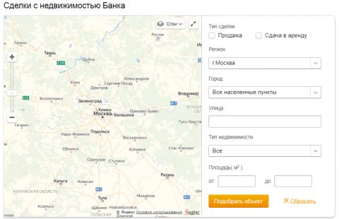Карта объектов с торгов Сбербанка