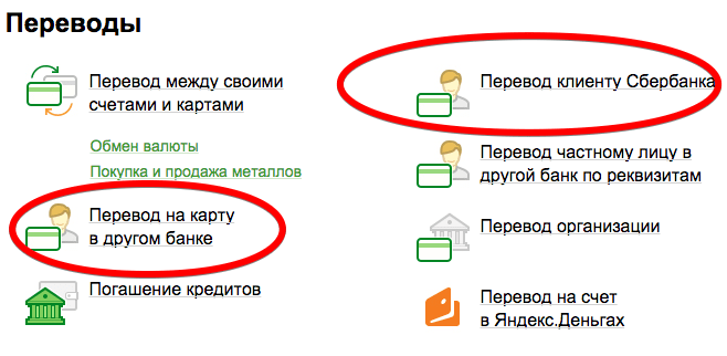 Карточные переводы в онлайн кабинете Сбербанка