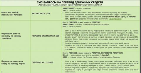 Виды СМС платежей в Сбербанке